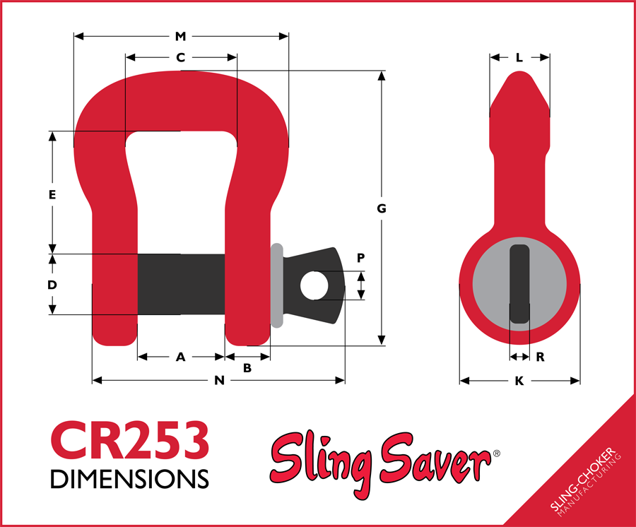 CR253 Shackle Dimensions