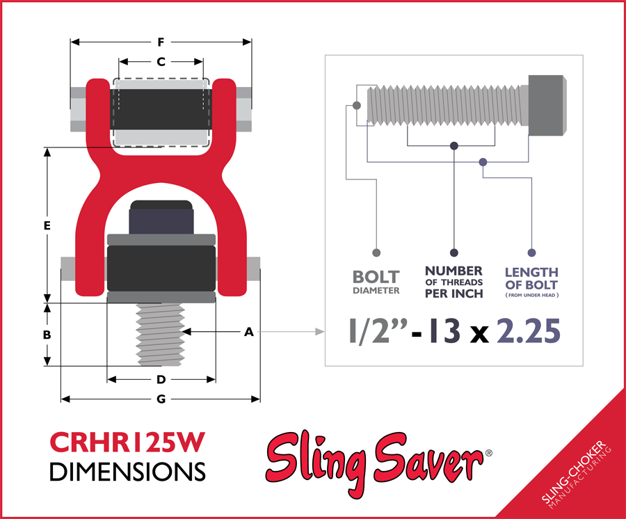 CRHR125W Hoist Ring Dimensions